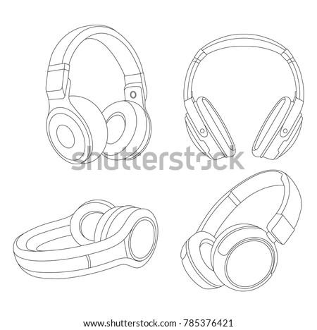 Headphones Vector Illustration Music Concept Line Stock Vector
