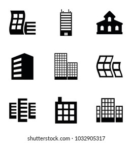 Headquarters icons. set of 9 editable filled headquarters icons such as building, modern curved building