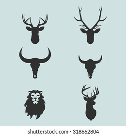 Heads of animals: deer, lion, buffalo in vector