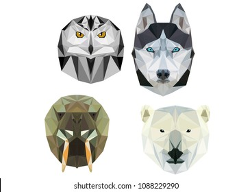 The heads of animals are made in the technique of low polygons that live in cold countries, at the north pole. Laika, polar owl, polar bear and walrus.