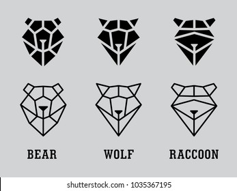 heads of bear, raccoon, wolf from triangles on gray background. Vector set
