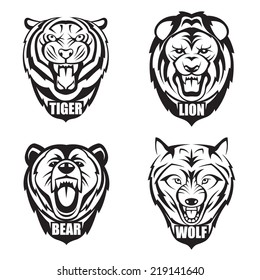 heads of bear, wolf, tiger and lion
