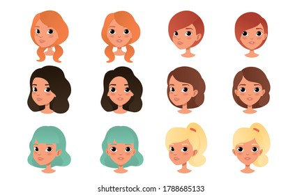 Heads of Cute Girls Set, Pretty Female Characters with Various Hairstyles Cartoon Style Vector Illustration