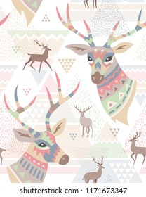 Heads of deers decorated ornament and silhouette of deers on abstract geometric background. Seamless pattern at scandinavian style for textiles and design