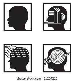 heads illustrating psychology and senses