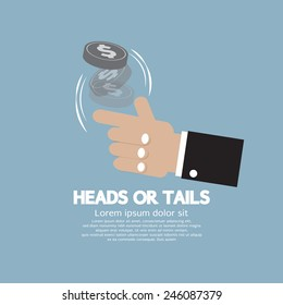 Heads Or Tails Cast Lots Concept Vector Illustration