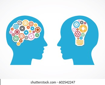 Heads of two people with gears, bulb and abstract brain for concept of idea and teamwork.
