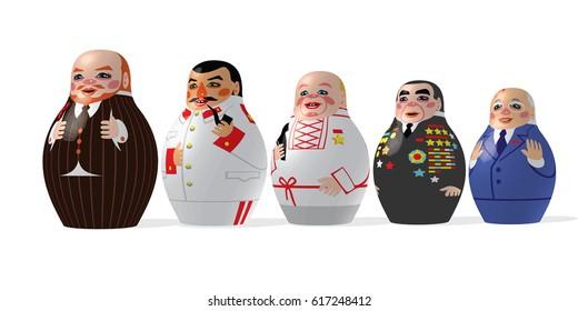 Heads of the USSR - Lenin (1917-1924), Stalin (1924-1953), Khrushchev (1953-1964), Brezhnev (1964-1983), Gorbachev (1985-1991) - vector dolls on a white background / For editorial use only