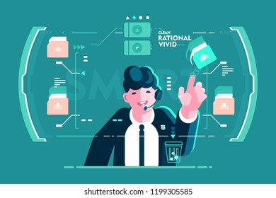 Headset businessman put in order screen interface. Man touching folder and moving in recycle bin. Flat. Vector illustration.