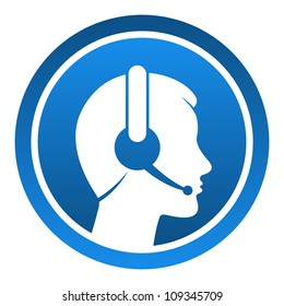 Headset Contact Icon - Blue rounded icon with head and headset as a customer support