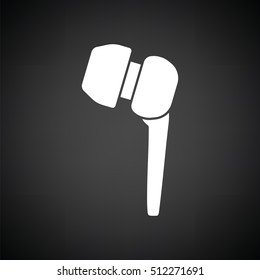 Headset  icon. Black background with white. Vector illustration.