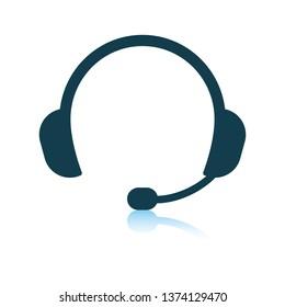 Headset icon. Shadow reflection design. Vector illustration.