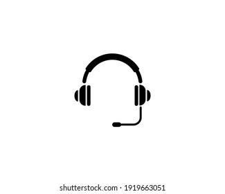 Headset icon, Support Headphone. Flat Vector Icon illustration. Simple black symbol on white background. Headset, Support Headphone sign design template for web and mobile UI element