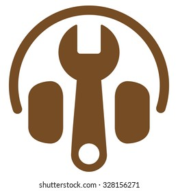 Headset Options vector icon. Style is flat symbol, brown color, rounded angles, white background.