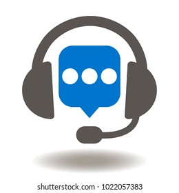 Headset Speech Bubble Icon Vector. Chat Talking Balloon Headphones Illustration. Support Customer Services, Hotline, Call Center, Guideline, FAQ, Maintenance, Assistance Logo.