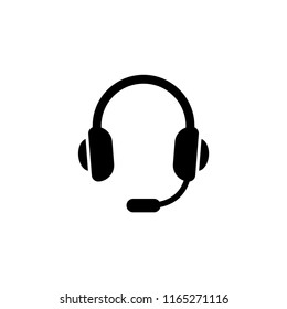 Headset, Support Headphone. Flat Vector Icon illustration. Simple black symbol on white background. Headset, Support Headphone sign design template for web and mobile UI element
