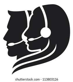 headset symbol (call center icon, support phone operators)