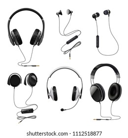 Headsets earphones realistic collection with earbuds on over and in-ear monitor headphones black isolated vector illustration
