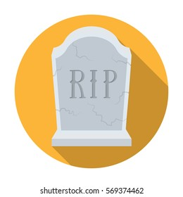Headstone icon in flat style isolated on white background. Funeral ceremony symbol stock vector illustration.