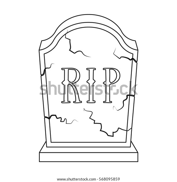Headstone icon in outline style isolated on white background. Funeral ceremony symbol stock vector illustration.