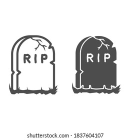 Headstone line and solid icon, Halloween concept, Grave stone sign on white background, Gravestone with RIP text icon in outline style for mobile concept and web design. Vector graphics.