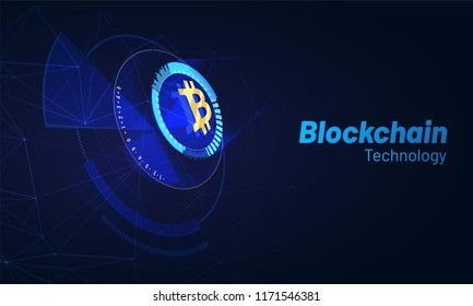 Head-up display of a bitcoin trading platform, cryptocurrency exchange platform concept.