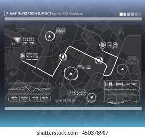 Head-up display navigation map elements for the web and app. Futuristic user interface. Virtual graphic.
