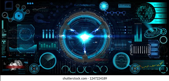 Head-Up Interface set for GUI, UI, UX design. HUD style, Technology elements set (space, dashboard, hologram, spaceship, medicine, finance, analytics) Mechanical scheme HUD electric field. Vector set