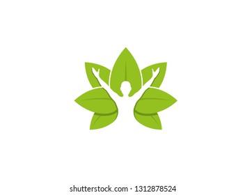 Healing Body Leaves Logo Design Illustration