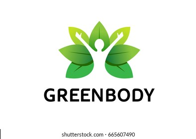 Healing Body Leaves Logo Design Illustration