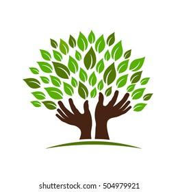 Healing Hands Tree. Vector Illustration