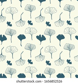 Healing leaves of ginkgo biloba tree, hand-drawn, geometric seamless pattern, isolated vector on beige background. Japanese tree. For printing on textiles, booklets, medical and cosmetic packaging