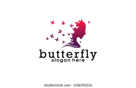 Health and beauty logo concept: woman's face and butterflies. Logo for beauty salon, massage, cosmetics, spa or medical clinic. Flat design.