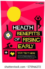 Health benefits of Early Rising (Flat Style Vector Illustration Sunrise Poster Design) With Text Box Template