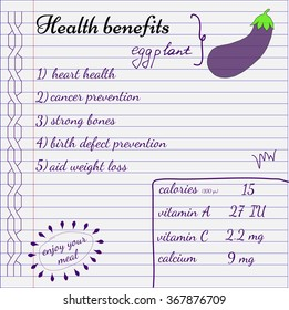 Health benefits of eggplant. Nutrition facts infografics. Hand-drawn health benefits.