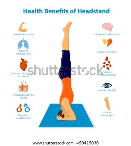 health benefits headstand inforgraphics vector