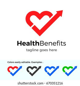 Health Benefits logo. Good health vector design concept