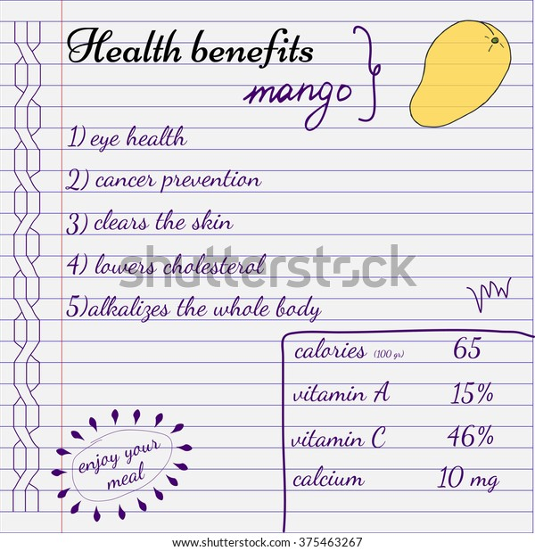 Health Benefits Mango Nutrition Facts Infographics Stock Vector Royalty Free 375463267