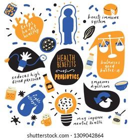 Health benefits of probiotics. Hand drawn infographic poster. Vector. Doodles