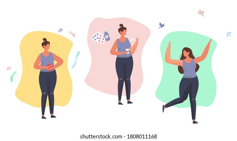 Health Benefits of Taking Probiotics.Woman has a Stomach Ache. Dysbacteriosis or Diarrhea of Colon.Probiotic Therapy.Girl Drinking Yogurt with Probiotics with Lactobacillus.Flat Vector Illustration