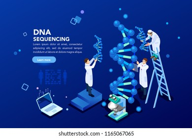 Health and biochemistry laboratory of nanotechnology. Molecule helix of dna, genome or gene evolution. Vector blue science genome clone sequence concept with characters. Flat isometric illustration.