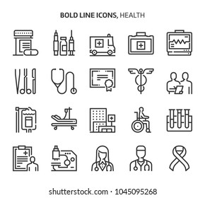 Health, bold line icons. The illustrations are a vector, editable stroke, 48x48 pixel perfect files. Crafted with precision and eye for quality.