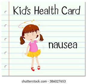 Health card with girl having nausea illustration