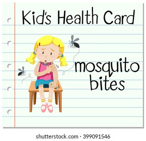 Health card with mosquito bites illustration