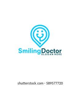 health care center logo, smiling stethoscope pin logo vector illustration