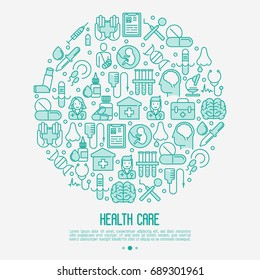 Health care concept in circle with thin line icons related to hospital, clinic, laboratory. Vector illustration for conclusion, banner, web page.