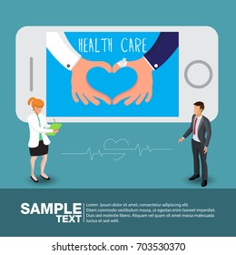 Health care concept: doctor hand and patient hand in shape of heart on smartphone blue background.