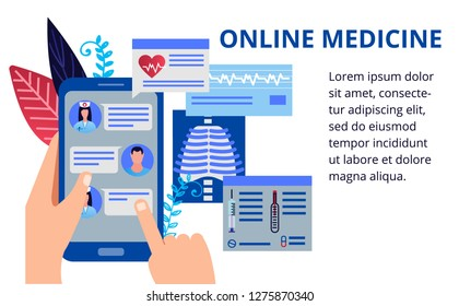Health care concept in flat style. Online medicine concept. Doctors give recommendations online. Vector illustration for web banners, brochure cover design and flyer layout template