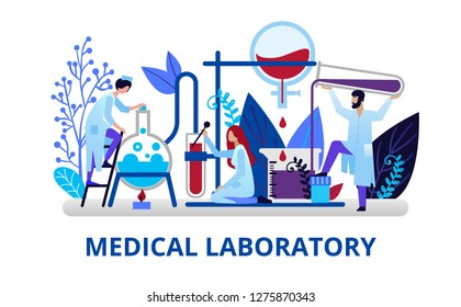 Health care concept in flat style. Doctors doing laboratory research. Chemical research and pharmacists. Vector illustration for web banners, brochure cover design and flyer layout template