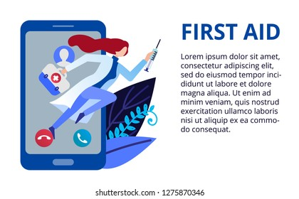 Health care concept in flat style. First id and online medicine concept. Doctor give recommendations online. Vector illustration for web banners, brochure cover design and flyer layout template
